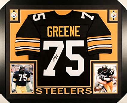 8c9c70f94 Image Unavailable. Image not available for. Color  Mean Joe Greene Signed  Steelers 35x43 Custom Framed Jersey Inscribed  quot HOF ...