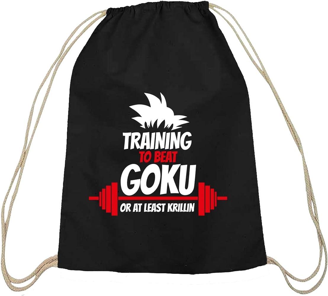 Shirtstreet24 Entrenamiento to Beat Goku or at Least krillin, algodón natural Turn Bolsa Mochila Bolsa de deporte schwarz natur: Amazon.es: Ropa y accesorios
