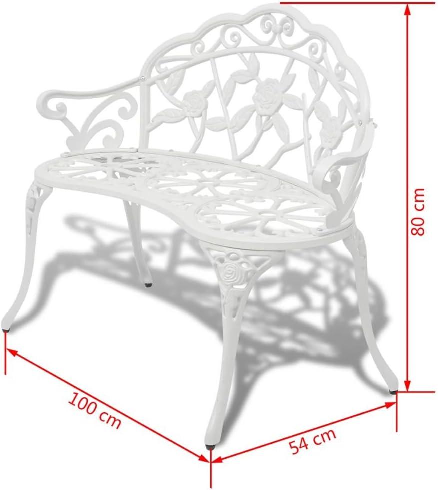 Tidyard Banc de Jardin 2 Places en Aluminium Coul/é Style El/égant Blanc 100 x 54 x 80 cm
