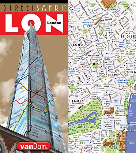 StreetSmart London Map by VanDam - City Street Map of London, England - Laminated folding pocket size city travel and Tube map with all museums, attractions, hotels and sights; 2018 - Of London Underground Map