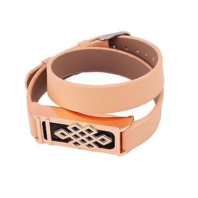 1bracelet de rechange en cuir avec noeud chinois Design Or Rose Boîtier en métal pour Fitbit Flex/Activité sans fil Bracelet Sport Bracelet/Bracelet Fitbit Flex Sport Bras de bande (Capteur non inclu