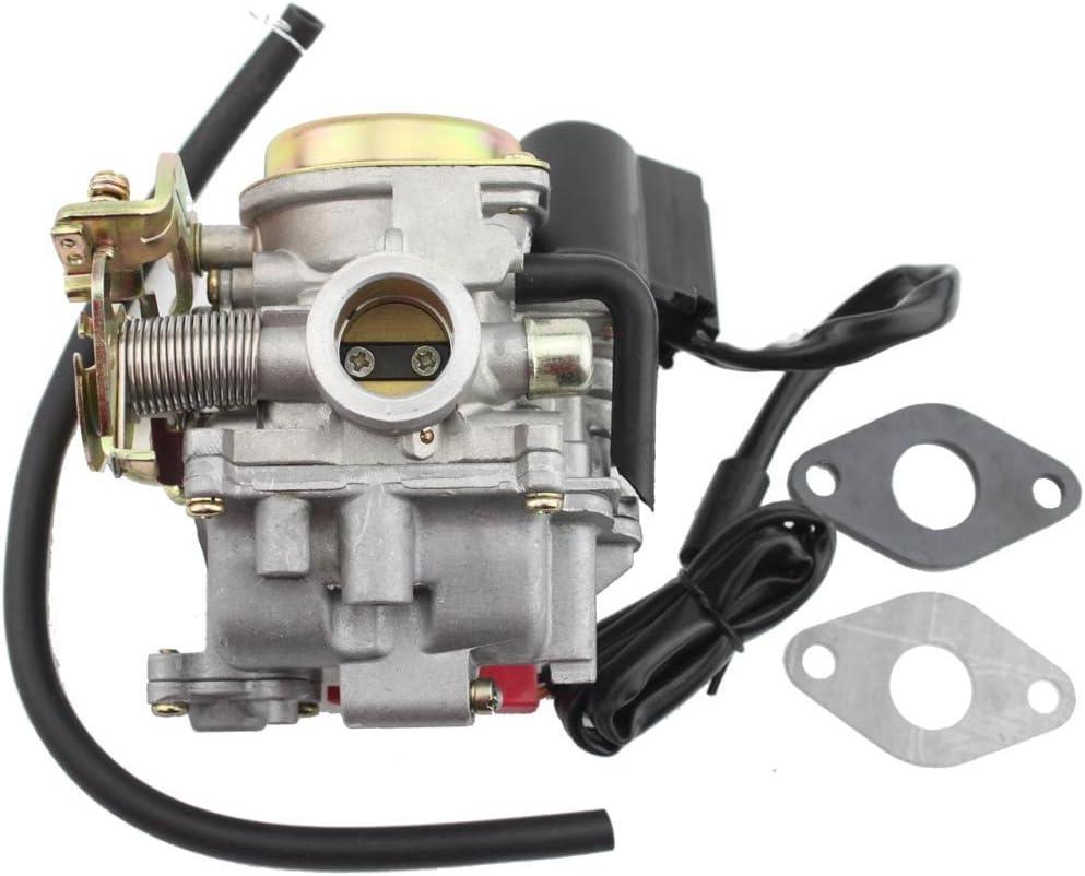 GOOFIT Carburador 18 PD18 Moto Electronico Choke con Membranas para 2 Tiempos 49cc 50cc 60cc 80cc Pit Bike ATV Quad Ciclomotor y Scooter Go Kart Plata