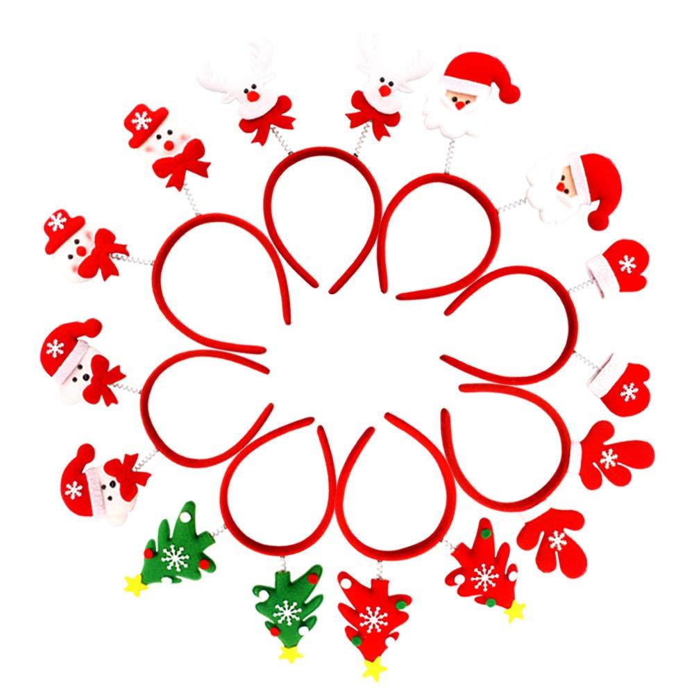Gudotra 8 Piezas Diademas Navide/ñas Santa Claus para Adultos y Ni/ños para Fiestas de Navidad A/ño Nuevo
