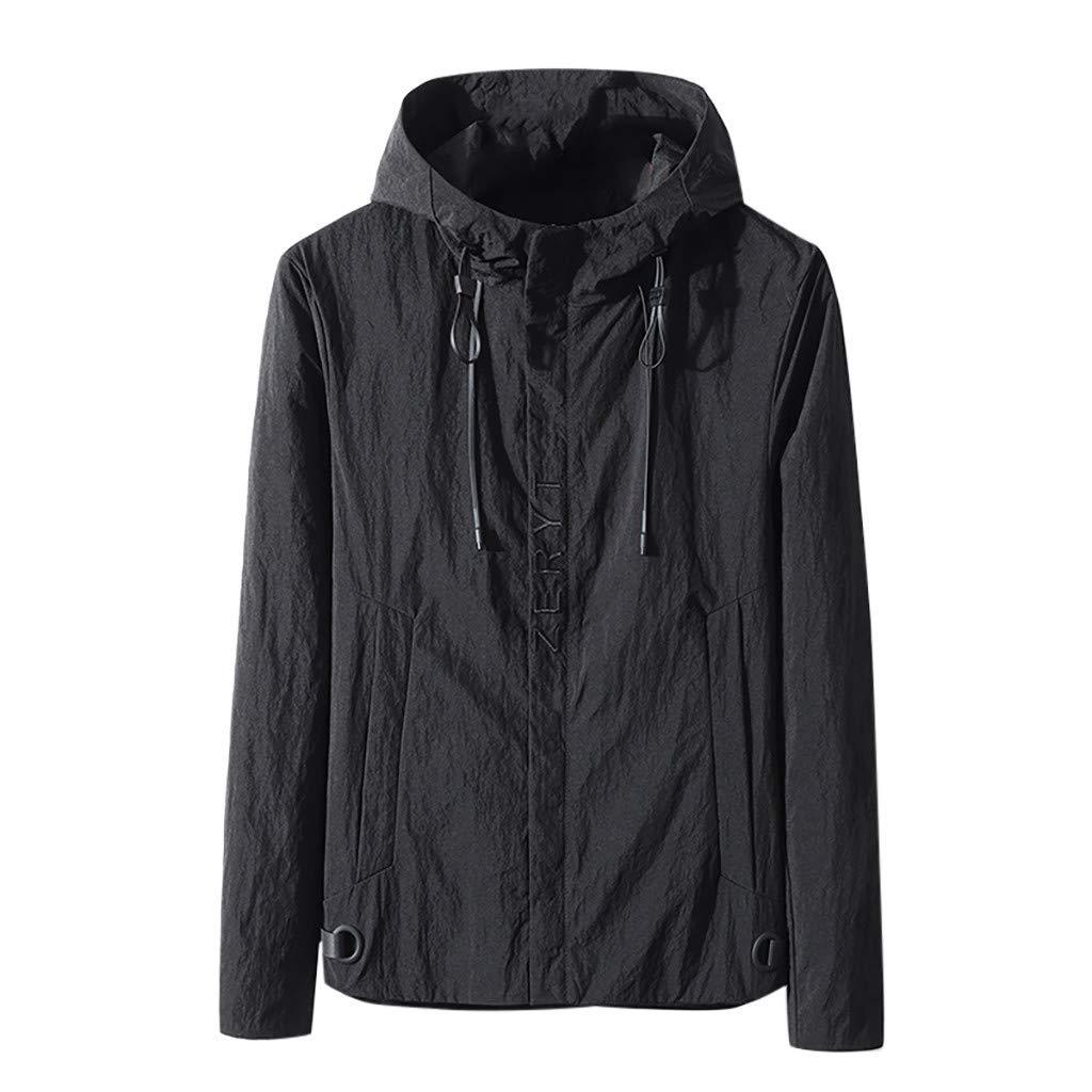 Alalaso Mens Jacket Slim Fit Lightweight Outdoor Sportswear Windbreaker Varsity Jacket Coat Black by Alalaso