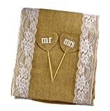 Aokbean 12-Inch-by-108-Inch Burlap Lace Table Runner with Mr and Mrs Fruit Toothpick