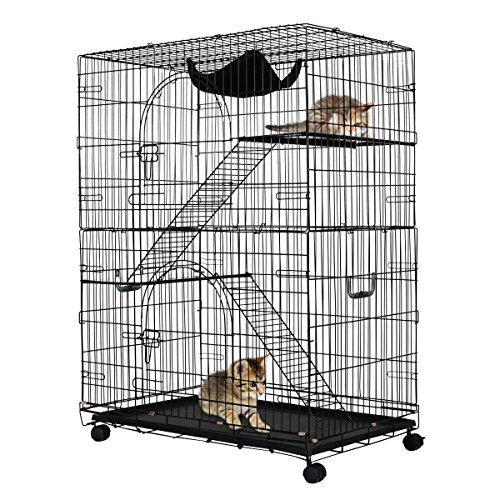 Giantex 2-Tier Cat Playpen Cat Cage with 2 Climbing Ladders & 2 Rest Benches & Hammock ()