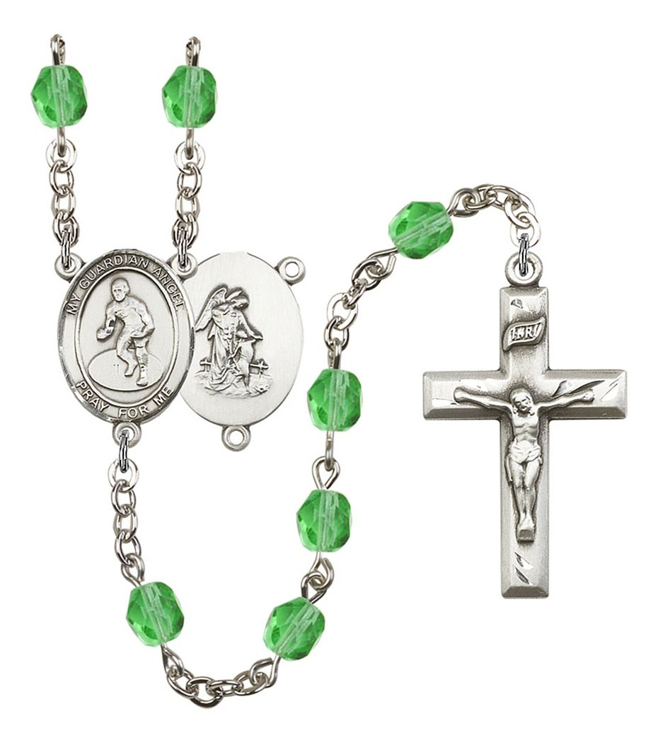 August Birth Month Prayer Bead Rosary with Guardian Angel Wrestling Centerpiece, 19 Inch