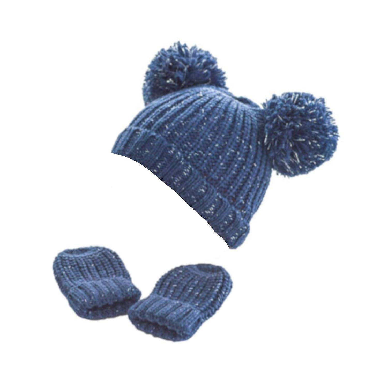 Tillfield Soft Touch Baby Glitter Pom Pom Hat and Mittens Set Newborn to 12 Months