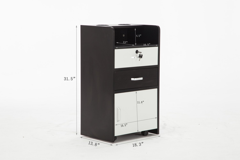 Barberpub Locking Rolling Salon Spa Trolley Cart Storage Removable Drawer Tray 2031 (Black&White)