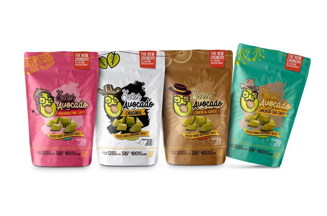 Senor Avocado Freeze-Dried Avocado Bites - Variety Pack- 0.8 oz Bag - 4 Pack - Non GMO Gluten and Sugar Free - Keto & Paleo Friendly