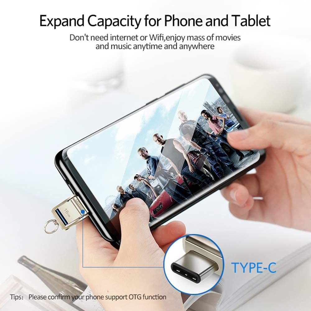 JSX Portable USB Flash Drive 3.0 USB C OTG Pendrive 8GB 16GB 32GB,Pen Drive Memory Stick for Android Phones MacBook Laptop PC,16G