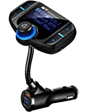 [Upgraded Version]Fm Transmitter for Car Bluetooth, CHGeek Quick Charge 3.0 and Smart 2.4A Dual USB Car Charger Wireless Aux Adapter MP3 Player Handsfree Calling Kit with Extra Fuse[Work with Siri] (CH13)