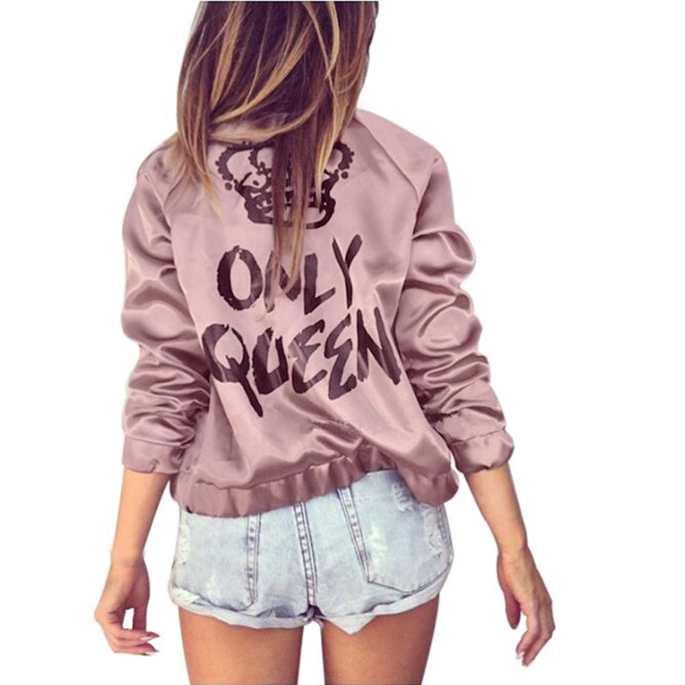 Ratoop Autumn Women's Blouse Coat, Only Queen Print Long Sleeve Jacket Casual Full Zip Up Tops Sweatshirt Elastic Outwear