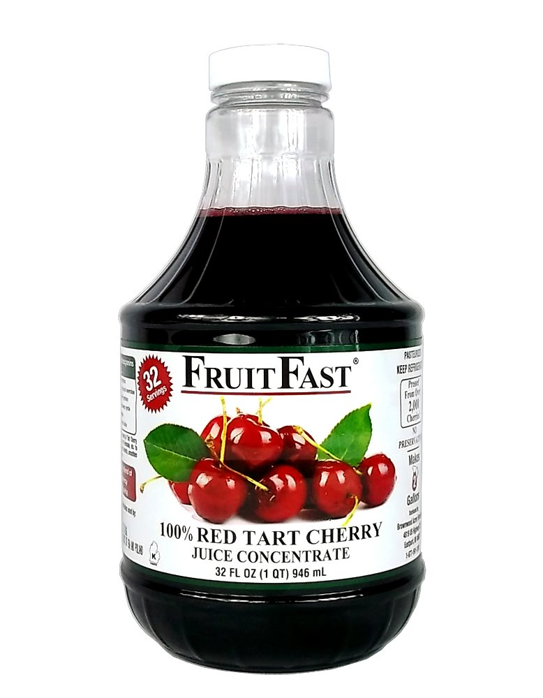 100% Pure Red Tart Cherry Juice Concentrate by FruitFast | Unsweetend, Non-GMO, Gluten Free, Kosher Certified Dark Cherry Extract - Promotes Joint Health and Helps Maintains Sleep Cycles (32 Ounce)