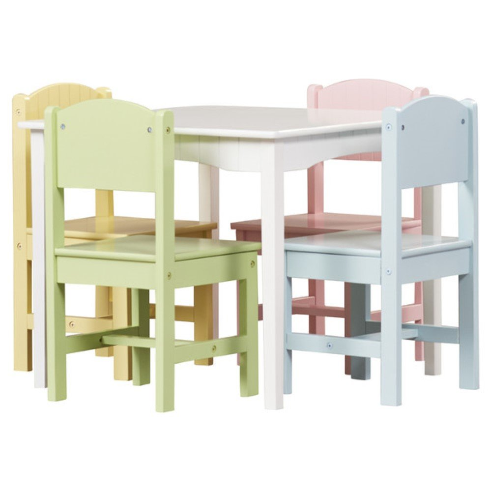 KidKraft Nantucket Kids 5 Piece Table & Chair Set, Kids Activity Table Set, Pastel