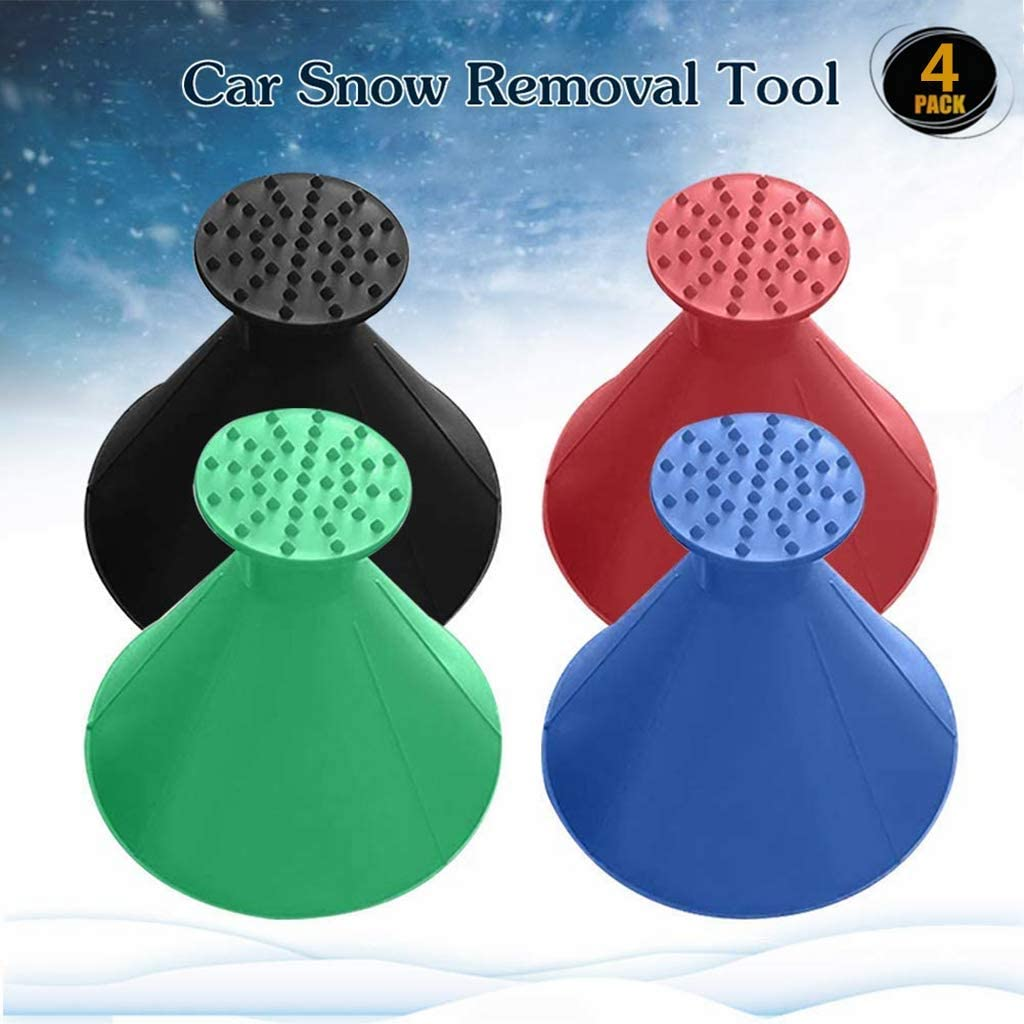 MeetLover Ice Scraper Magic Funnel Snow Removal Tool Round Windshield Cone-Shaped Car Windshield Snow Scraper Blue 2Pack