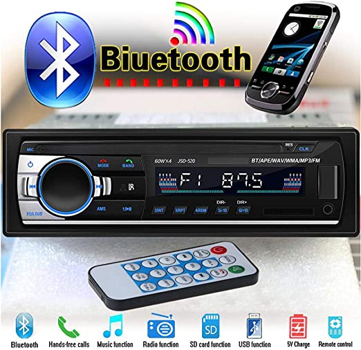Car Bluetooth Stereo MP3 Player USB//SD//FM//WMA//MP3//WAV Radio Remote In-dash 12V