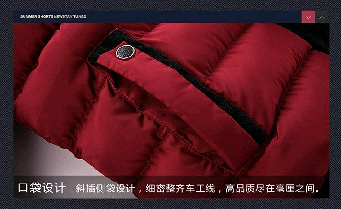 Coolred-Men Winter Stand Collar Windproof Thick Plus Size Down Jacket