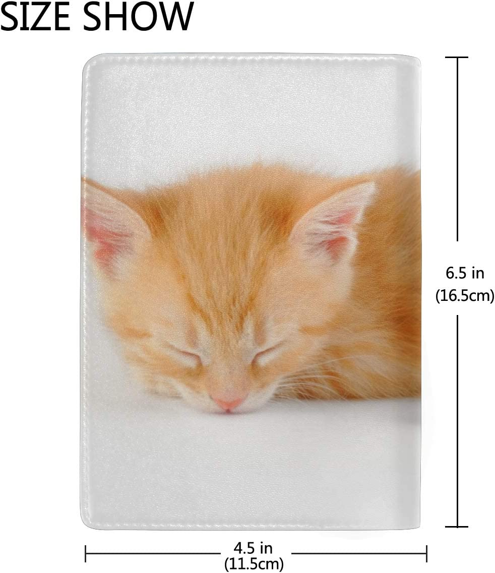 Cute Little Red Kitten Sleeps On Blanket Blocking Print Passport Holder Cover Case Travel Luggage Passport Wallet Card Holder Made With Leather For Men Women Kids Family