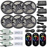 IWISHLIGHTTM 30M 98.4FT 6Rolls LED Waterproof IP67 RGB Color Changing Flexible Strip Decoration Pack for Outdoors,Gardens,Homes,Wedding,Christmas Season,Party,Bars. Touch-Remote + Color Signal Ampifier + Power Supply Adapter included