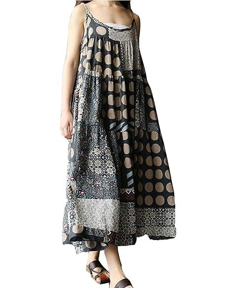 77e3f470a57 LVCBL Women Vinrage Kaftan Loose Cotton Long Maxi Dress Baggy Dress Pockets  Gray S