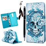 MOLLYCOOCLE LG K7 / K8 Case,Skull Crown Painting Wrist Strap Protective Holster Luxury Series Lovely Cute Pattern TPU Inner Bumper Protective Cover Slim Scratch Resistant Case for LG K7/K8,Tribute 5