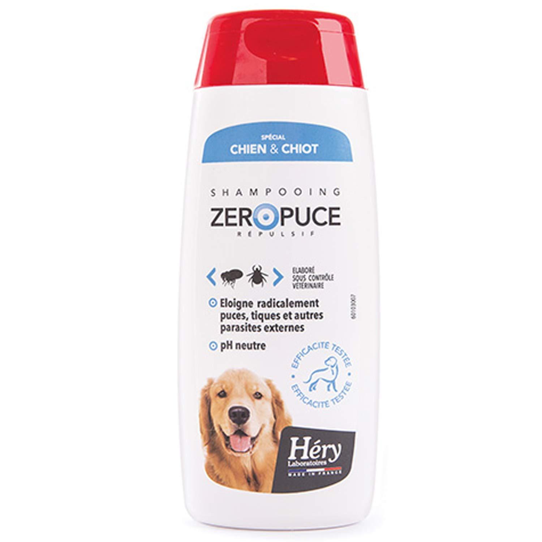 Shampooing répulsif zéro puces et tiques pour chiens et chiots HERY