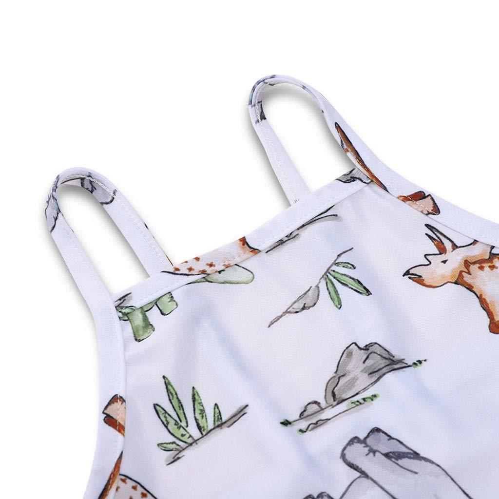 LHWY Baby M/ädchen Badebekleidung Kinder Bademode Sommer Sport Strand Jumpsuit /ärmellose Dinosaurier Park Print Sling Einteiliger Badeanzug