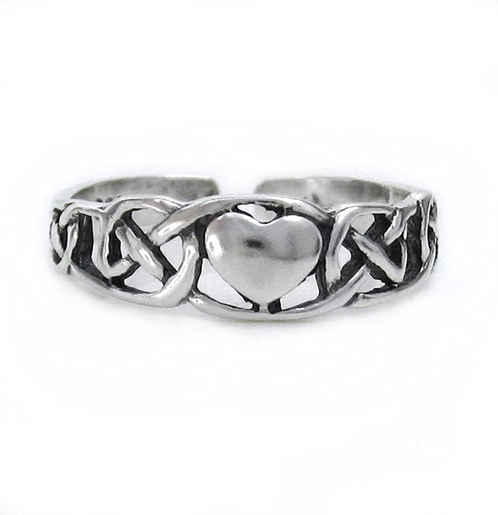 Sterling Silver Heart and Celtic Knot Adjustable Toe Ring Sosi B. T198