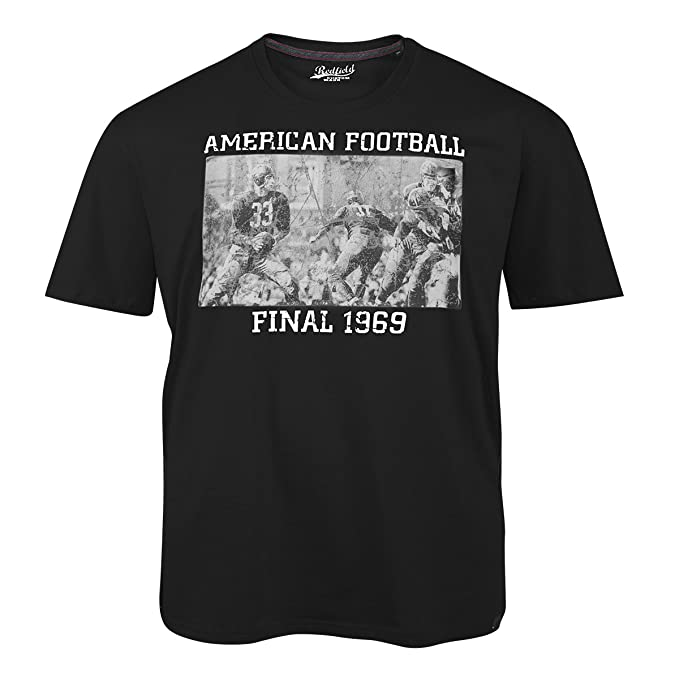Redfield Camiseta Negra con Estampado Football Print Oversize, 2xl-8xl:2XL