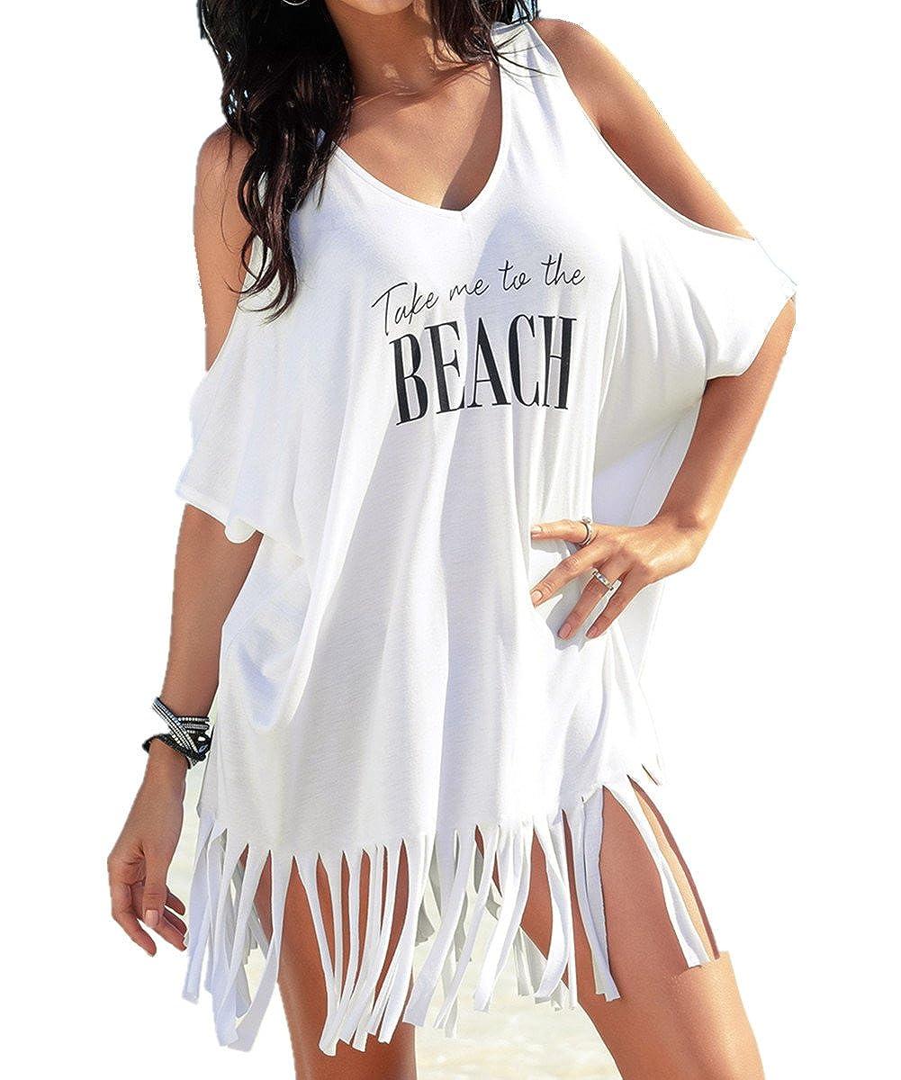 Damen Bademode Bikini Cover Up Sommer Strandkleid Wrap Minikleid Kleid Übergröße