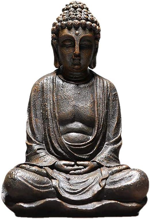 QIBAJIU Regalo Estatua Escultura Decorativa Vintage Sentado Estatua De Buda Estatuilla Escultura Hogar Oficina Exterior Jardín Decoración Ornamento: Amazon.es: Hogar