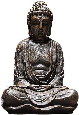 BHUIJN Estatuas Decorativas Vintage Sentado Estatua De Buda Estatuilla Escultura Hogar Oficina Exterior Jardín Decoración Ornamento Artesanía: Amazon.es: Hogar