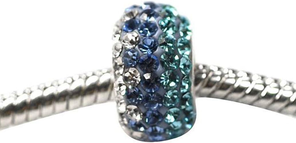 De Buman Sterling Silver White Crystal Charm Bead-fits Charm Bracelets