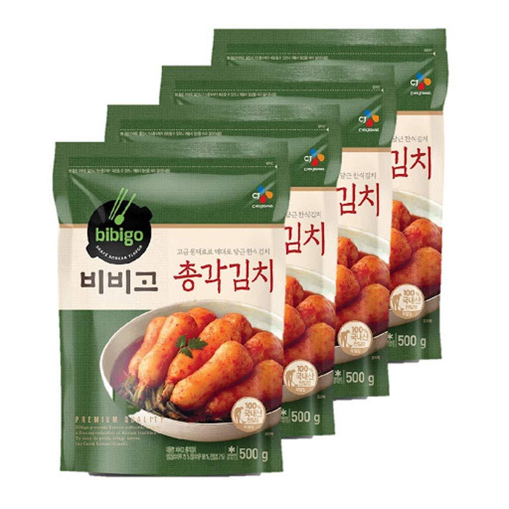 [ 4 Packs] CJ Bibigo Korean Radish Kimchi 총각김치 500g