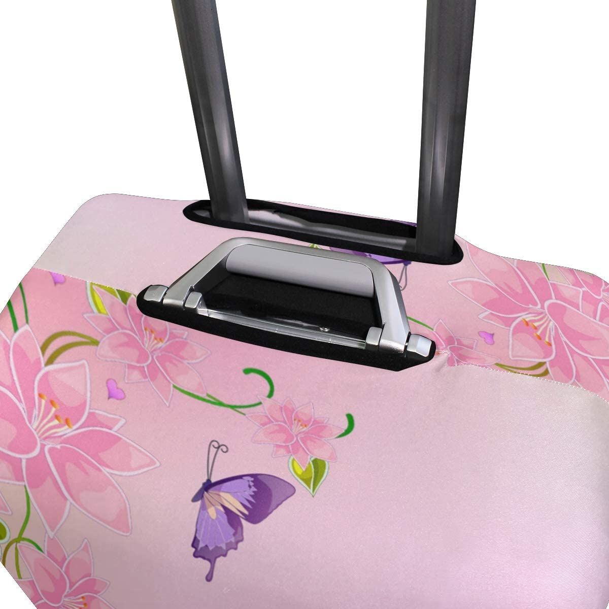FOLPPLY Pink Fairy Butterfly Luggage Cover Baggage Suitcase Travel Protector Fit for 18-32 Inch