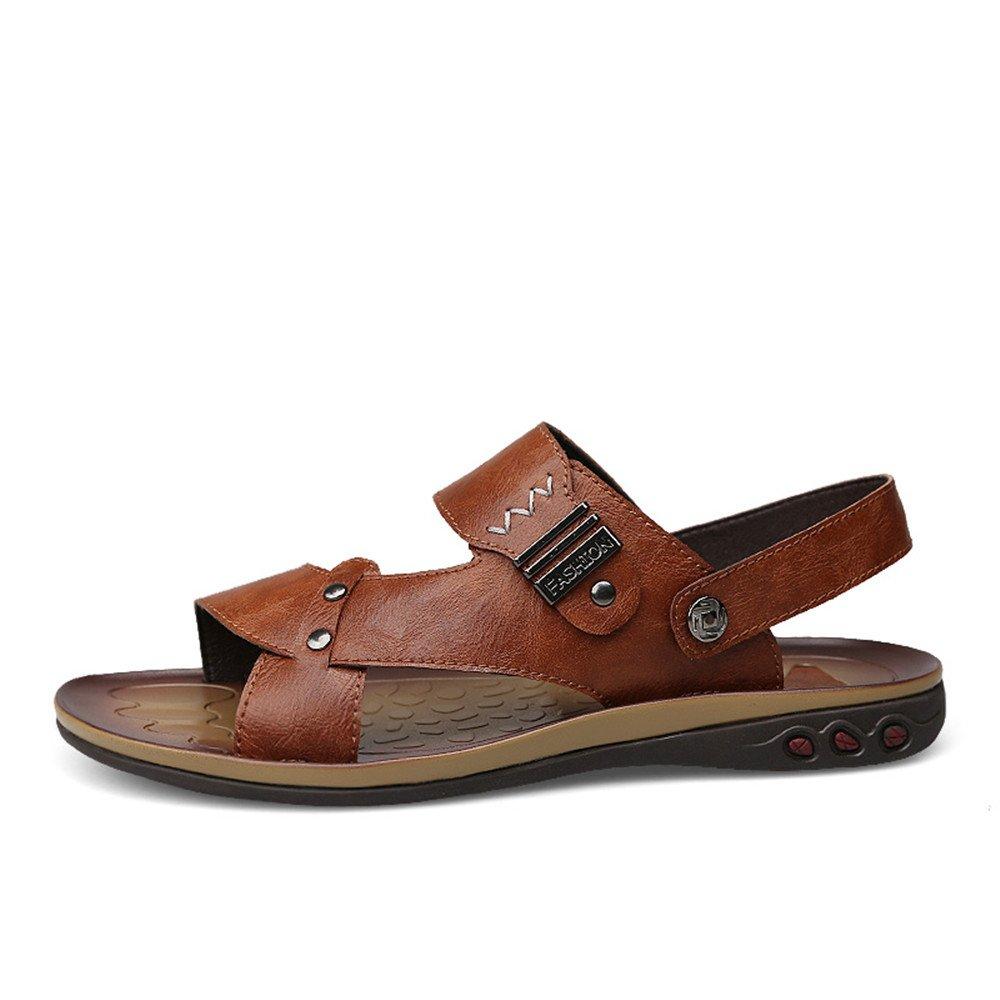 Sunny&Baby Zapatillas de Playa de Cuero de Imitación para Hombre Zapatos Sandalias Antideslizantes sin Respaldo Ajustable Resistente a la Abrasión: ...