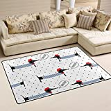 WellLee Cute Pet Area Rug,Polka Dots French Style Dogs Dachshund Floor Rug Non-slip Doormat for Living Dining Dorm Room Bedroom Decor 31x20 Inch