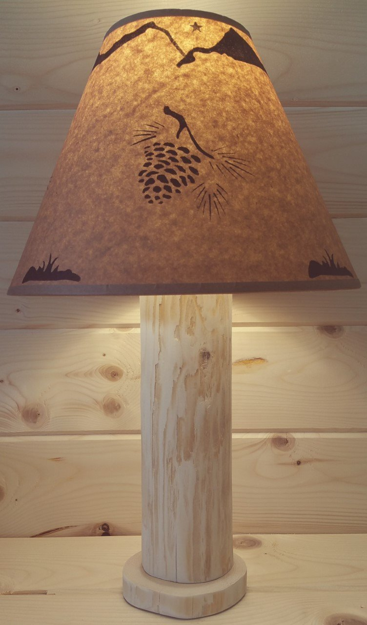 Alotaloha Pine Cone Rustic Log Lamp Authentic Western Red Cedar with Free Parchment Paper Lampshade! Made in USA! Rustic Log Furniture Primitive Northwoods Ski Lodge Western Ranch Decor