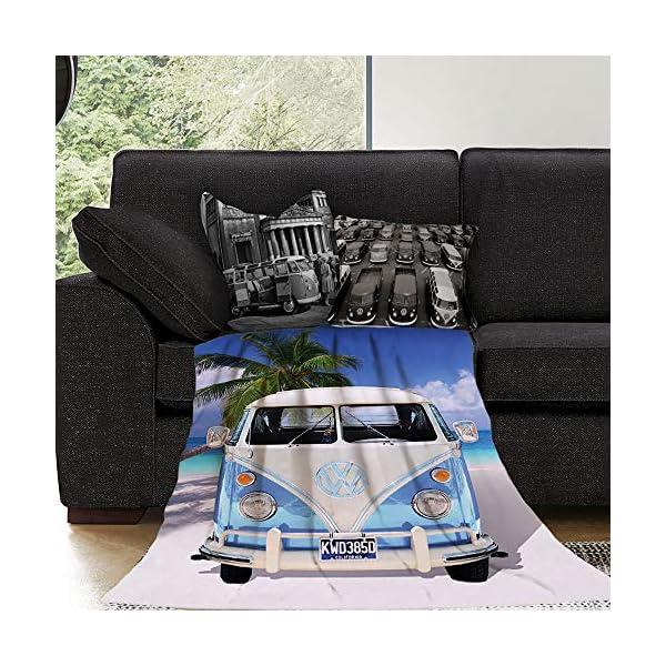 61i0qf9FqnL Große Original Volkswagen Fleece-Decke VW Bulli T1 blau 130 cm x 170 cm Camper-Van VW Bus T1 Decke Kuscheldecke…