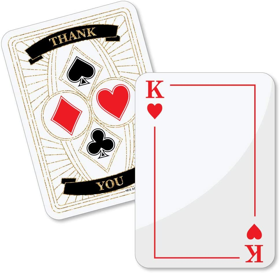 Las Vegas Casino Personalized Birthday Party Thank You Cards