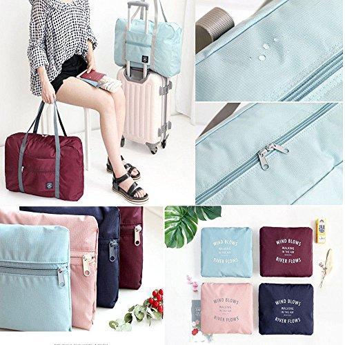 Beyonds Waterproof Folding Travel Storage Carry Luggage Bag bin Outdoor Gym,Size 11.8 x 8.2 x 4.3 inch Oxford Fabric (Sky Blue) ()