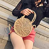 angel3292 Clearance Deals Creative Straw Weave Round Messenger Bag Women Casual Summer Beach Tote Handbag