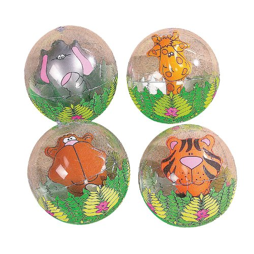 12 Pack Inflatable Clear Jungle Animal
