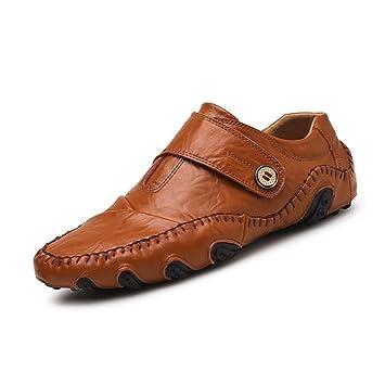 Jiuyue-shoes Mocasines Casuales de los Hombres del talón Plano con Cuero Genuino Pasta mágica Pulpo Antideslizante único Barco Mocasines (Color : Marrón, ...