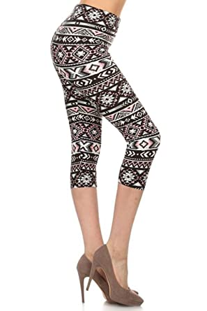 2a5a8be542c1 Leggings Depot Women s Plus Size High Waisted Capri Print Leggings at  Amazon Women s Clothing store