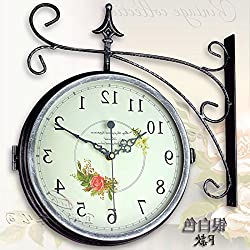 Y-Hui   Iron Double-Sided Wall Clock Large Living Room Clocks Are Two-Sided Clock Electronic Clock In Table 16 Inch, White F