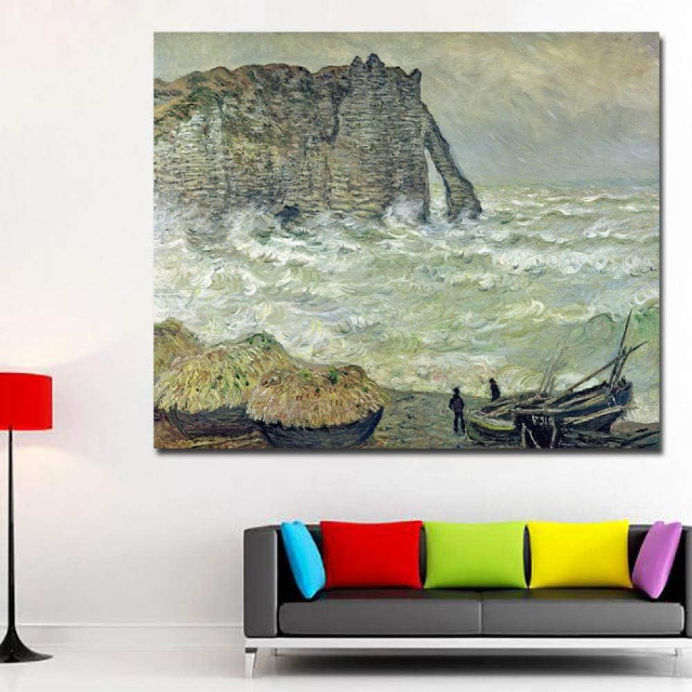 RTCKF Cartel de Arte Abstracto mar Paisaje Monet Pintura al óleo ...