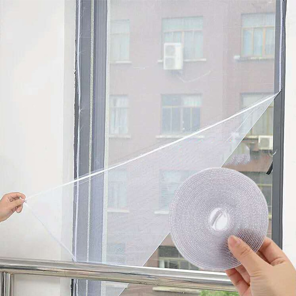 Flyzzz DIY Self-Adhesive Window Screen Netting Mesh Curtain, 100X150cm (Approach 39.37x59.05 Inches), with Hook and Sticky Tape, Fitted to Multiple Windows (2 Pack, White)