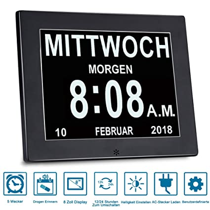 SINOIDEAS® Actualización De Alarma Reloj - Reloj Digital Calendario, Día Y Hora (Abreviatura De Letras En ...